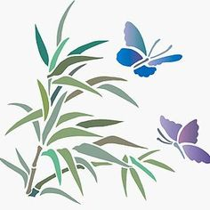 Small charming bamboo shoot design With 2 butterflies 1 small sheet stencil The charming Bamboo and Butterfly Stencil is a beautiful small motif stencil of little butterflies around a spray of bamboo. Ideal for decorating smaller objects and accessories such as greeting cards, cushion covers, nap