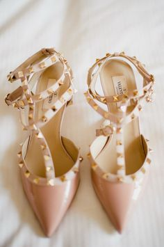 pretty pink pointy toe bridal shoes with studs