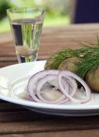 Traditionelles Menü an Midsommar: Frühkartoffeln mit Hering und Schnittlauchquark