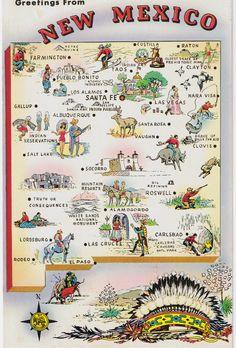 New Mexico Map (Land of Enchantment) New Mexico Map, Travel New Mexico, Mexico Art, Vintage Maps, Vintage Postcards, Vintage Travel, Santa Fe, Nara, Taos Pueblo