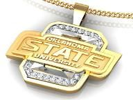 OSU Jewelry. Oklahoma State University Necklace set in 14k White and Yellow Gold with Shimmering Diamonds!