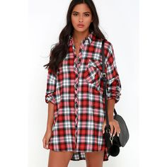 Pacific Forest Red Plaid Shirt Dress (895 MXN) ❤ liked on Polyvore featuring dresses, red, oversized shirt dress, red high low dress, short front long back dress, red dress and long red dress