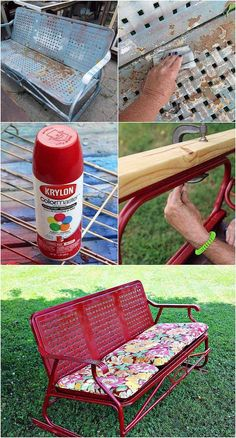 How to spray paint a vintage glidder with Cherry Red Gloss spray paint from Krylon #krylon #spraypaint  #red