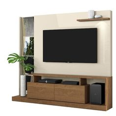 Orren Ellis Pullum Entertainment Center for TVs up to 60 inches Color: Nature/Off White Floating Entertainment Center, Home Entertainment Centers, Entertainment Wall, Deco Tv, Tiny Living Rooms, Living Room Tv Unit Designs, Tv Wall Design, Bed Design, Cool Tv Stands