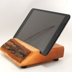 "Wood iPad MINI Stand from Block & Sons Co. Article. No. 1257M. McTeale 5""x6"" Madrone iPad MINI stand / block. $95.00, via Etsy."