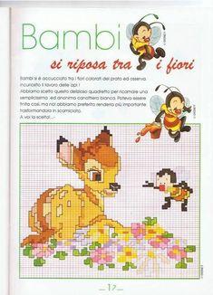 Bambi sitting on flowers - free cross stitch patterns crochet Disney Cross Stitch Patterns, Cross Stitch For Kids, Cross Stitch Boards, Bambi Disney, Walt Disney, Baby Embroidery, Cross Stitch Embroidery, Stitch Disney, Baby Looney Tunes