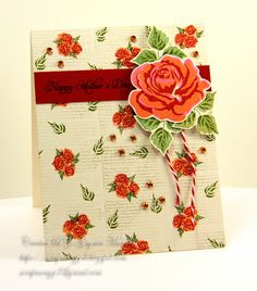 Handmade by G3: I love this card - lovely background to complemet the rose focal, PTI Sweet Life