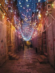 Lights in Old City Jerusalem.