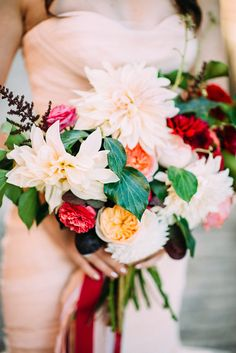 pink, red and green bouquet | Photo by Cambria Grace Photography | Florals by Pollen Floral Design