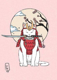 #aesthetic #pink #cat #white #samurai #katana