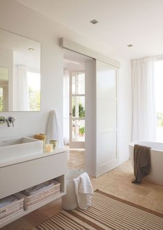 How To Install Sliding Barn Doors Bathroom Doors, White Bathroom, Bathroom Interior, Interior Windows, Interior Barn Doors, Barn Style Doors, Double Barn Doors, Home Office Decor, Home Decor