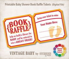 "Baby Shower Book Raffle - ""Although cards are nice, with their sentiment and prayer,   They are read once or twice, then tucked away with care.  A book is a treasure, with words and pictures that unite,  To read over and over, night after night.  So instead of a card to baby and mother,   Consider a book that they can read to each other!"" (I have a Baby Books I Want page on pinterest for ideas!)"