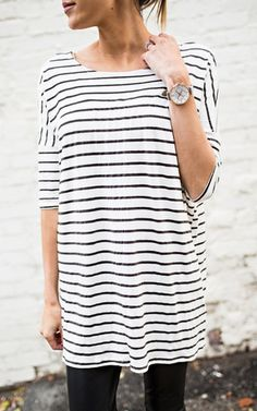 Ily Couture Stripe Bamboo Cotton Tee - 2 Colors