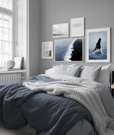 in the Inspiration / Bedroom group at Desenio AB . - in the Inspiration / Bedroom group at Desenio AB in the Inspiration / Bedr - Bedroom Inspo Grey, Blue Bedroom, Trendy Bedroom, Bedroom Colors, Modern Bedroom, Bedroom Inspiration, Gray Bedroom Decor, Bedroom Wall Decor Above Bed, Design Bedroom