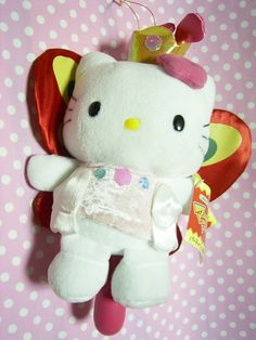 """Vintage Butterfly HELLO KITTY Kawaii Plush Doll Maracas Toy Sanrio JAPAN 2000 :  *Condition*  Unused!  Released by Sanrio JAPAN in 2000 and sold in Japan only!  *Size*  About  9.1"""" (23cm) in height (the plush doll)  49.99-64.99 (8.50/10/13)"""