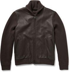 $5,365, Loro Piana Shawl Collar Leather And Baby Cashmere Bomber Jacket