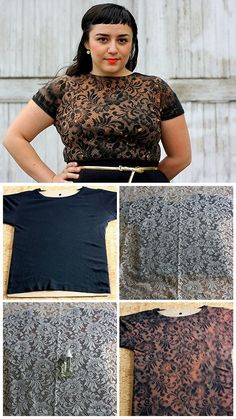 DIY Bleach Lace Shirt from Manzanita. She commented that she'd tape down the lace next time for a cleaner image. *For anyone selling bleached shorts/shirts/fabric: really important information on how to fully stop the bleach from eating away at your fabric here. For more bleach and dye DIYs: truebluemeandyou.tumblr.com/tagged/bleach truebluemeandyou.tumblr.com/tagged/dye