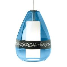 LBL Lighting Mini-Miyu 1 Light Mini Pendant Shade Color: Steel Blue, Finish: Satin Nickel