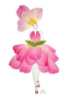 """Fashion Illustrations With Real Flower Petals As Clothing. """"made of real flower"""" Art Floral, Real Flowers, Little Flowers, Arte Fashion, Unique Drawings, Pressed Flower Art, Art And Illustration, Flower Fashion, Flower Petals"""