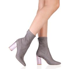 ec25b2a7cea9 Chloe Perspex Heeled Ankle Boots in Grey Faux Suede 51e