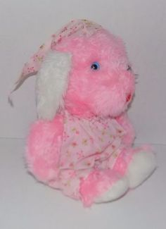 15-034-Commonwealth-Toys-Pink-PLUSH-Puppy-Dog-FLOWER-Gown-amp-Nightcap-BLUE-EYES-5