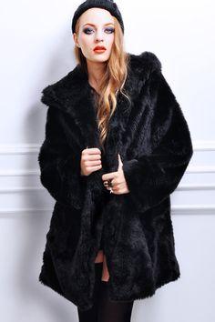 Faux Fur Black Hooded Coat #Romwe