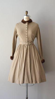 Bells of Sarna dress / mink trimmed 40s dress / by DearGolden, $224.00