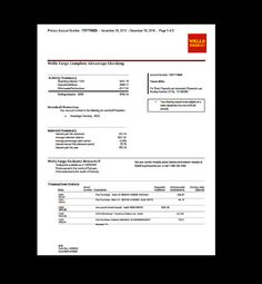 Bank Statement Wells Fargo Template Fake Custom Printable Income Monthly Verification Direct Deposit Personalized