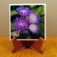 Handcrafted Photo Coaster Photo Plaque Purple Flowers 0006C