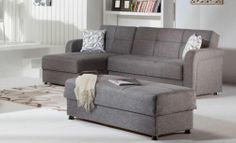 APARTMENT SIZE SECTIONAL WITH REVERSIBLE CHAISE, WITH STORAGE IN BOTH SIDES, EUROPEAN MADE SOFA BED. DESIGNED FOR EVERYDAY USES WITH INNERSPRING CONSTRUCTION, FOAM WRAPPED, WITH STEEL FRAMING. SHOWN AS DIEGO GRAY FABRIC AVAILABLE NOW FOR ONLY $799.00! OTTOMAN IS $200.00 ADD A CHAIR FOR ONLY $359.00 (CONVERTS INTO A TODDLER BED)