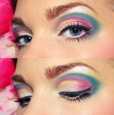 blue pink and yellow eyeshadow fun