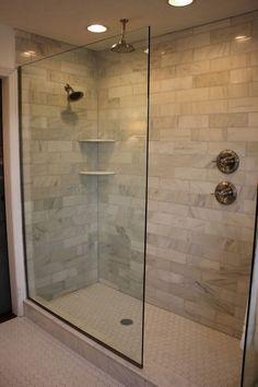 Design Of The Doorless Walk In Shower: Tinted glass #tintedglass