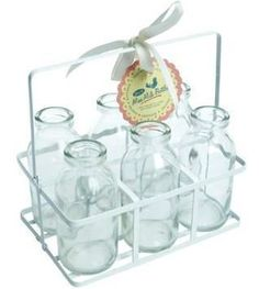6 MINI MILK BOTTLES IN CRATE SCHOOL VINTAGE RETRO FUN NEW AVAILABLE NOW   www.ditsy-daisies.co.uk