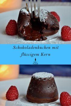 Rezept Schokoladenkuchen mit flüssigem Kern. Auch Lava Cake oder Fondant au Chocolat genannt. Zum Valentinstag der Renner!