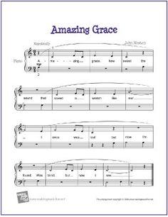 Amazing Grace | Free Sheet Music for Easy Piano - http://makingmusicfun.net/htm/f_printit_free_printable_sheet_music/amazing-grace-easy-piano.htm