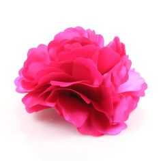 Dark Pink Satin Peony Fabric Flower Pin Brooch Hair Clip