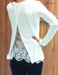 White Cotton Lace Women Blouse / Long Sleeve white Lace by FloAtelier