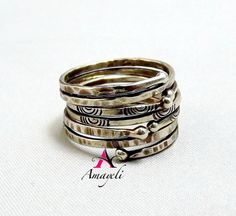 Sterling silver wrapped and stacked rings set of three by Amayeli, $38.00