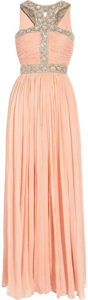 Rachel Gilbert ~ Samara Embellished Silk-chiffon Gown