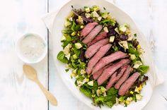 Steak, fajita, corn, baby spinach