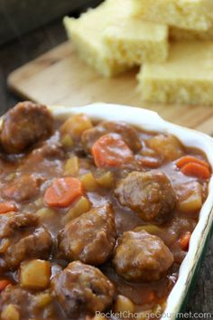 Meatball Stew 1 (10 1/2 oz) can Beef gravy 2 cups Carrots 3 stalks Celery 1 Onion, medium 3 Potatoes 1 envelope Onion soup mix 1 (10 3/4 oz) can Tomato soup 1 cup Water 2 Beef bouillon cubes or 2 teaspoons granules