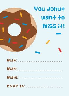 Mini Donuts + Free Printable Donut Party Invitations | Donuts ...