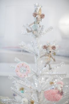 """SILVER TINSEL TREE  $75.00 Cutest tinsel tree for a mini Christmas set up!  Tree measures 36"""" in height  To SHOP this item click the visit button!"""