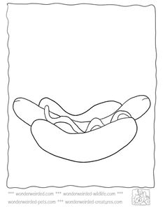 Food Coloring Pages cartoon Hot Dog at wwwwonderweirdedcomhot
