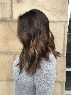 Dimensional Brown. Brunette hair. Dark brown to light brown. Balayage. Lob. 2017 hair trends. Ombré. Salon Salon Ashley Nichole Hair Fort Collins hair.