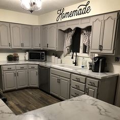 Repainting Kitchen Cabinets, Kitchen Redo, Home Decor Kitchen, Home Kitchens, Gray Kitchen Cabinets, Mobile Home Kitchen Cabinets, Kitchen Ideas, Country Kitchen, Mobile Home Renovations