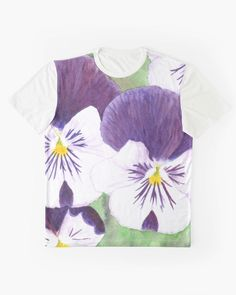 """""""White and purple Pansies flowers"""" Graphic T-Shirt by Savousepate on Redbubble #tshirt #teeshirt #clothing #watercolorpainting #flowers #pansies #pansy #spring #purple #white #green #yellow"""