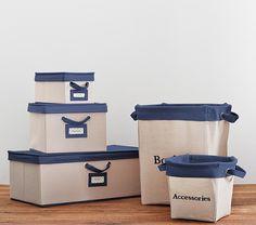 Navy Contrast Border Canvas Storage | Pottery Barn Kids