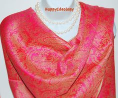Paisley Print Pashmina Scarf. Beige Gold and by HappyIdeology