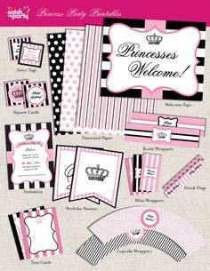 Free princess party printables with editable text fields! #princessparty #freeprintables